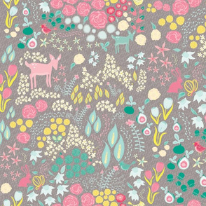 Fawn and Bunny Floral