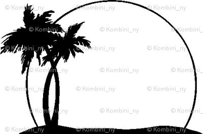 black and white palm tree sunset fabric kombini ny spoonflower rh spoonflower com Free Cruise Ship Clip Art Black and White Hawaiian Palm Trees Clip Art