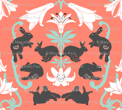 damask white lilies grey bunnies