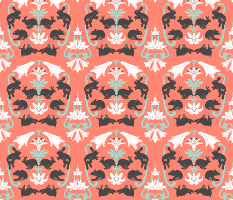 damask white lilies grey bunnies fabric by mophead on Spoonflower - custom fabric
