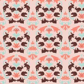 damask coral mint black white