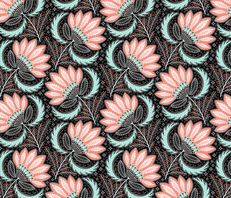 floral of coral, mint, black & white