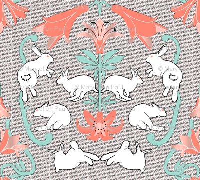 damask white rabbit coral lily neutral back