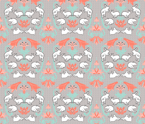 damask white rabbit coral lily neutral back fabric by mophead on Spoonflower - custom fabric