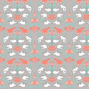 damask white rabbit coral lily neutral back