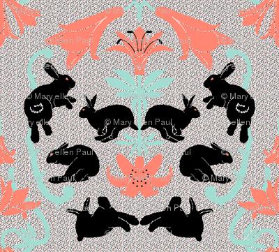damask black bunnies neutral background