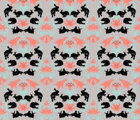 damask black bunnies neutral background fabric by mophead on Spoonflower - custom fabric