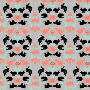damask black bunnies neutral background