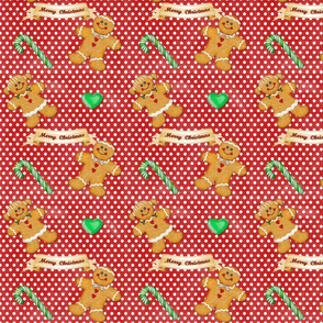 Gingerbread Couple Polka Dots Red