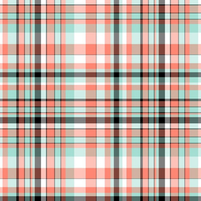 Coral, Mint, Black & White Plaid