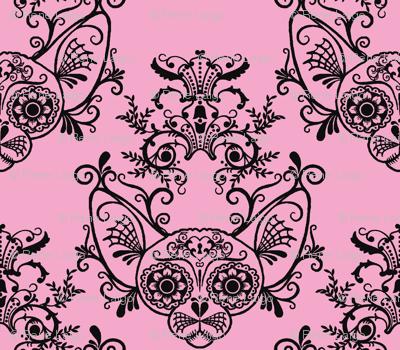 Sugar Skull Sphynx Cat Damask Pink