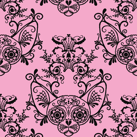 Sugar Skull Sphynx Cat Damask Pink fabric by glamourpuss on Spoonflower - custom fabric