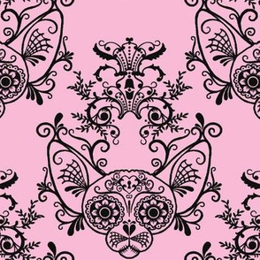 Sugar Skull Sphynx Cat Damask Pink
