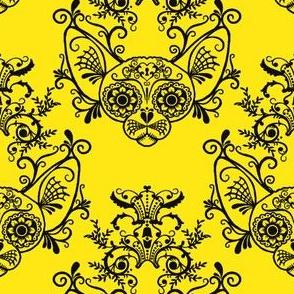 Sugar Skull Sphynx Cat Damask Yellow