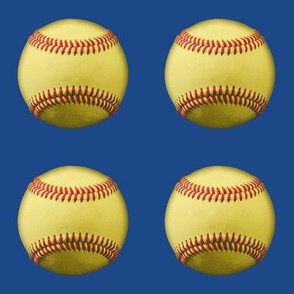 blank yellow softballs on blue