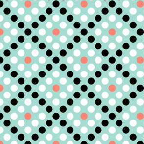 Polka Squares in Mint, Coral, Black and White