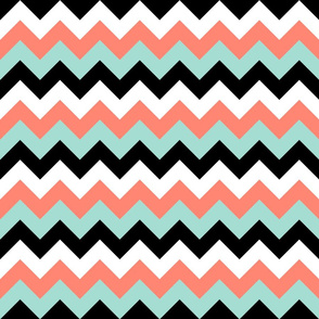 Chevron in Coral, Mint, Black and White