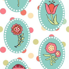 Flowers in Ovals with Polka Dots