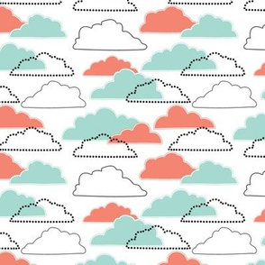 Mint/Coral Clouds on White