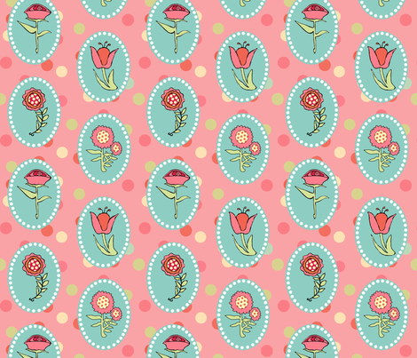 Flowers in Ovals on Pink fabric by lauriekentdesigns on Spoonflower - custom fabric