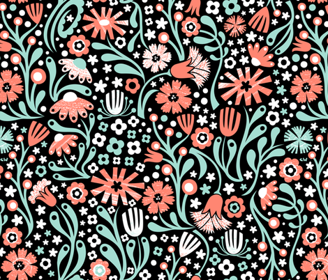 Nordic Suzani Floral (Coral Mint) fabric by christinewitte on Spoonflower - custom fabric