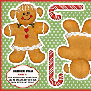 Gingerbread Man Woman Plushie Kit