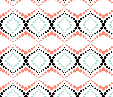 Moroccan Tiles with Coral and Mint fabric by bloomingwyldeiris on Spoonflower - custom fabric