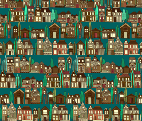 wooden buildings teal fabric by scrummy on Spoonflower - custom fabric