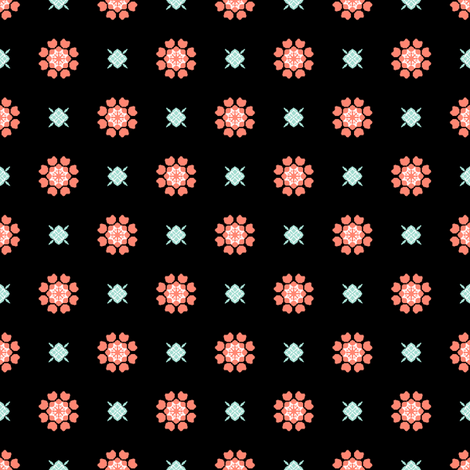 Anemone of my Anemone Coral on Black fabric by inscribed_here on Spoonflower - custom fabric