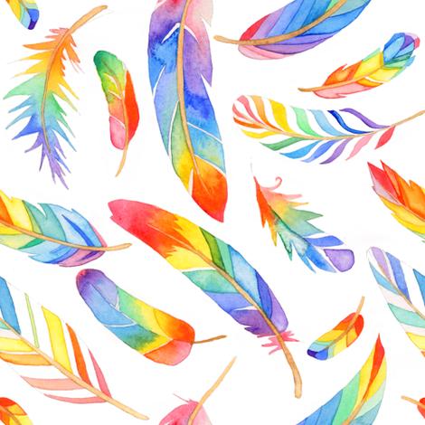 Rainbow feathers fabric by emeryallardsmith on Spoonflower - custom fabric