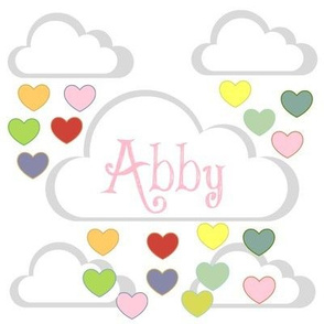 Rainbow Heart Showers-personalized pink ABBY