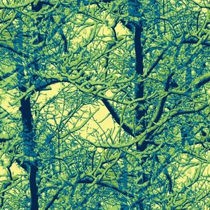 Trees in navy, blue, green, and yellow