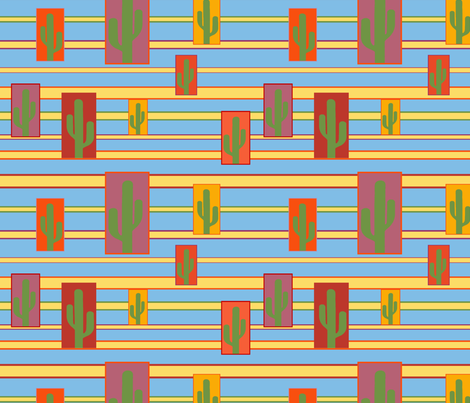 desert_range_cactus_frame_yellow_stripe_blue_back fabric by tangledvinestudio on Spoonflower - custom fabric