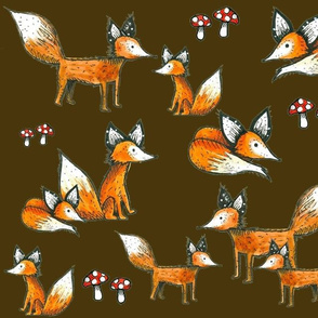 Foxes and Mushrooms on Brown