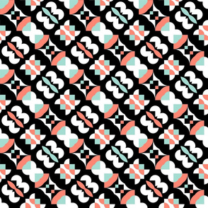 Pantry Paper in Coral, Mint, Black and White
