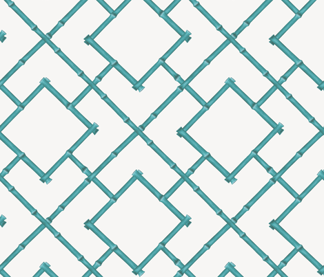 Osaka Bamboo Trellis / Teal fabric by willowlanetextiles on Spoonflower - custom fabric