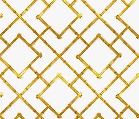 Osaka Bamboo Trellis / Gold Leaf fabric by willowlanetextiles on Spoonflower - custom fabric