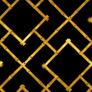 Osaka Bamboo Trellis / Ebony and Gold Leaf