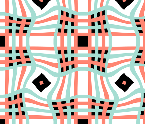 Coral_Mint_Black_White_10 fabric by stradling_designs on Spoonflower - custom fabric