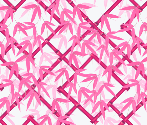 Nantes Bamboo Trellis in Fuschia fabric by willowlanetextiles on Spoonflower - custom fabric