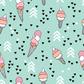 Cute geometric pastel ice cream popsicle cream candy illustration i love summer scandinavian illustration pattern