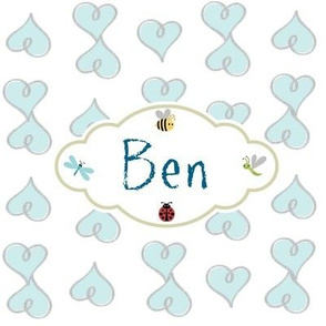 Doodle Hearts Blue-Personalized -Ben