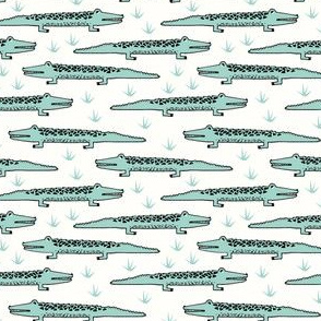 crocodiles // mint alligator crocodile fabric baby nursery reptiles design andrea lauren fabric andrea lauren design