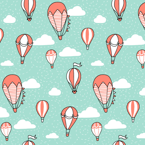 Coral Mint Black and White Balloons fabric by hazel_fisher_creations on Spoonflower - custom fabric