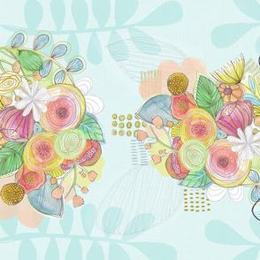 Birds and Bouquet Tea Towel