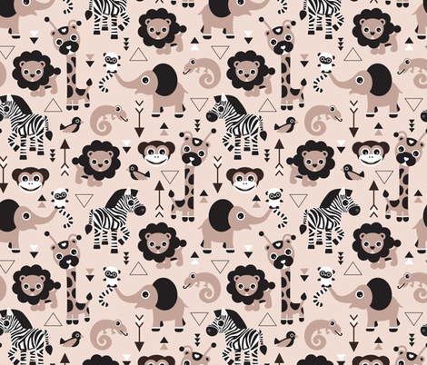 Geometric jungle zoo animals adorable kids design in gender neutral black white and beige  fabric by littlesmilemakers on Spoonflower - custom fabric