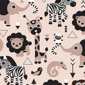 Geometric jungle zoo animals adorable kids design in gender neutral black white and beige