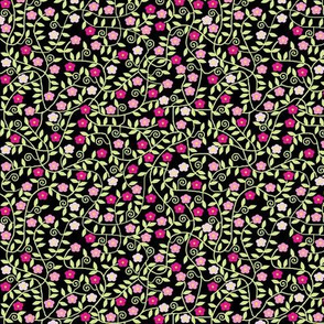 Pink Flowers on black
