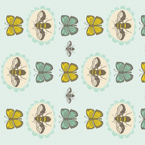 Bees and Butterflies Tea Towel