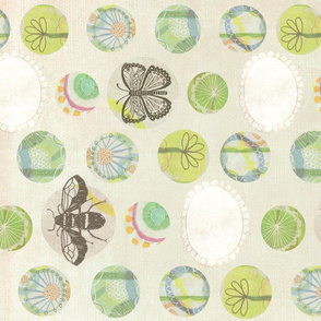 Bees and Butterflies Version 2 Tea Towel
